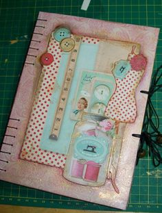 Mixed media A5 journal - I used GORGEOUS Tilda Sewingbird papers for the front cover collaged design.