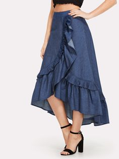 To find out about the Asymmetrical Ruffle Trim Denim Skirt at SHEIN, part of our latest Skirts ready to shop online today! Denim Fashion, Look Fashion, Fashion Pants, Fashion Outfits, Dress Fashion, African Fashion Dresses, African Dress, Casual Frocks, Casual Outfits