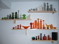 mostly American, Scandinavian glass and pottery, with some West German and Italian pieces mixed in for good measure.