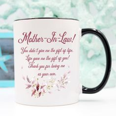 Sweet Mug for Mother-in-law Mother In Law Quotes, Mother Gifts, Mothers, In Law Gifts, Presents For Mom, Mom Day, Best Mom, Give It To Me, Mugs