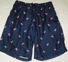 a2bd138d93 Mens Blue with Red Flags Faded Glory Swim Trunks Shorts Size Large 36-38 #