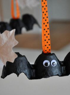 We've come up with some spooktacular Halloween crafts for you and your kids to have a go at. There's everything from batty bats to paper plate cats – make your home look Halloween-ready. Have a go at these egg box flying bats.