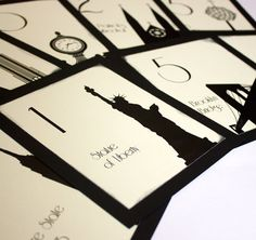 NYC Table Number Wedding Decor Sign New York Icons Landmarks Silhouette City Manhattan Single Sample on Etsy, £1.70
