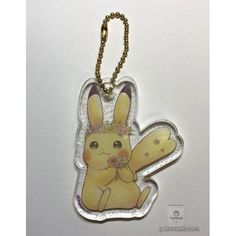 Pokemon Center 2018 Easter Campaign Pikachu Acrylic Plastic Keychain Charm With Egg (Version #3)