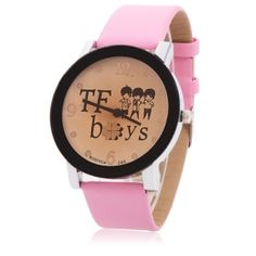Women Fashion Watch White Dial TF Boys Group Pattern Alloy Watch with Pink PU Band at this moment