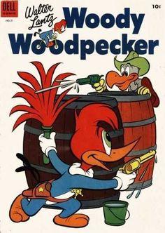 Woody Woodpecker Dell No Golden Age Comics 1970s Cartoons, Cartoons Love, Classic Cartoons, Vintage Comic Books, Vintage Comics, Bugs Bunny Cartoons, Kids Toys For Boys, Favorite Cartoon Character, Pig Character