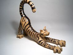 Cat sculpture stretching by EllensCreatures on Etsy - clay, glaze
