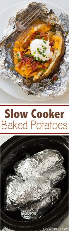 slow cooker recipes Slow Cooker Baked Potatoes - These are perfect because you can throw them in before you go to work and come home to ready to eat potatoes! Crock Pot Food, Crock Pot Slow Cooker, Slow Cooker Recipes, Cooking Recipes, Crock Pots, Baked Potatoes, The Best, Food To Make, Easy Meals