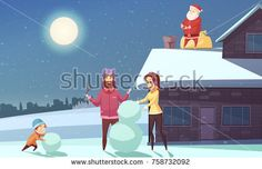 Stock Vector: Happy family making snowman at christmas night and santa claus standing on roof near chimney cartoon vector illustration