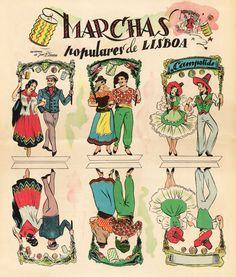 Marchas 1 Nostalgic Pictures, Portuguese Culture, Alphonse Mucha, Portugal Travel, Patron Saints, Vintage Postcards, The Past, Photos, Comics