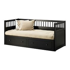 "HEMNES daybed frame, black-brown Length: 77 1/8 "" Width: 40 1/2 "" Height: 35 7/8 "" Length: 196 cm Width: 103 cm Height: 91 cm"