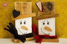Pupazzi di neve in legno fatti a mano di ilfenicotterorosa su Etsy
