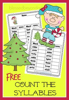 FREE Christmas Edition - Count the Syllables worksheets.
