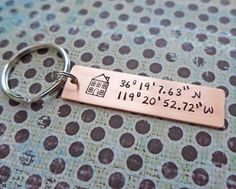 custom latitude longitude home key chain by juliethefish on Etsy