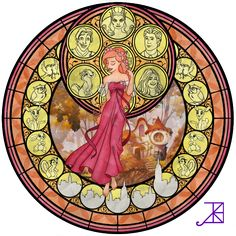 """Stained Glass: Giselle by Akili-Amethyst.deviantart.com on @deviantART - Seventh in a series based on the Stations of Awakening from """"Kingdom Hearts"""": Giselle from """"Enchanted""""."""