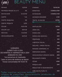 BEAUTY MENU!  #imperfectsalon #sitges #prices #estetica #peluqueria #hairstyle #salon