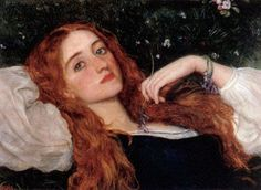 Arthur Hughes (1832-1915)  In the Grass (second version)  Oil on board…