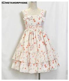Metamorphose Cherry Chiffon Frill Pinafore JSK « Lace Market: Lolita Fashion Sales and Auctions
