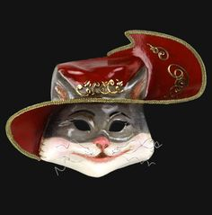 Puss In Boots mask handmade from papier mache .This mask would look great in any childs or adults room hanging proudly on the wall. Animal Masquerade Masks, Masquerade Ball Party, Halloween Masquerade, Animal Masks, Cat Mask, Big Bad Wolf, Venetian Masks, Burlesque, Fairy Tales