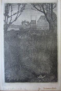 Jan Mankes (1889-1920) - Posthume druk van de originele etsplaat door William Diederich Kuik (1929 - 2008) - Herfsttuin - 1916 - 1968  Ets met het uitzicht vanuit de tuin van het huis van Jan Mankes te Eerbeek 1916 - Afmeting ets: 135 x 9 cm lijst incl. passeparout: 26 x 21 cmDeze Ets is in een oplage van slechts 20 exemplaren in 1968 door Dirkje Kuik (1929-2008) gedrukt. Tijdens zijn leven is er geen gesigneerde oplage van deze ets verschenen .Conditie: Goede staat enkele lichte bruine…