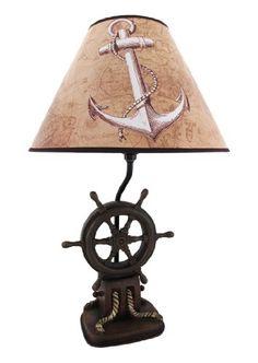 Pirate Prop Ship Wheel Lamp Statue Resin Nautical Decor - All For House İdeas Nautical Lamps, Nautical Table, Nautical Lighting, Coastal Lighting, Nautical Home, Nautical Interior, Nautical Bedroom, Coastal Decor, Destiny Ships