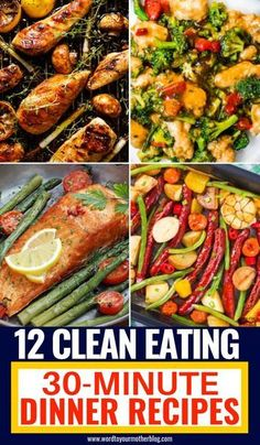 Healthy dinner recipes you can make in 30 minutes or less! Easy clean eating recipes for families to enjoy! Perfect to add to your weekly meal plan for weight loss these clean eating recipes are quick & delicious! From one pot chicken to low carb fish and Healthy Dinner Recipes For Weight Loss, Clean Eating Recipes For Dinner, Easy Healthy Dinners, Clean Recipes, Eating Clean, Healthy Recipes For Two, Quick Easy Healthy Dinner, Healthy Family Meals, Fast Recipes