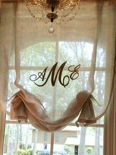 Monogrammed Shade- like the natural feel and sheerness of the fabric. Dining room