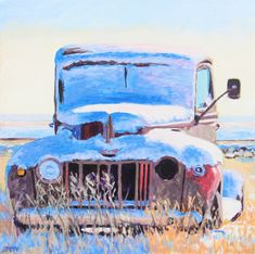 crylic, 24x24 inches, 2021 Available A late 40's Ford(?) in a field by the tracks that run by Robsart Saskatchewan. #art #artist #artwork #artoftheday #painting #painter #paintingoftheday #trucking #trucks #Ford #fordtrucks #saskatchewan #sask #robsart #landscape #prairies #canada Ford Trucks, Art Day, Wolf, Canada, Landscape, Artist, Artwork, Painting, Scenery