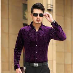Mens Dress Shirt Long Sleeve Cotton Male Business Casual Printed Fashion Formal Shirts Slim Masculina Camisa