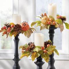 Fall Candles, Pillar Candles, Flameless Candles, Fall Candle Centerpieces, Centerpiece Rentals, Centrepieces, Wreaths And Garlands, Fall Wreaths, Door Wreaths