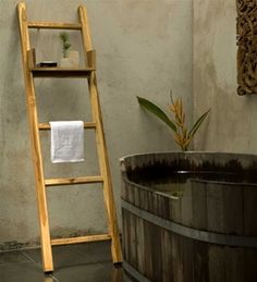 Teak Towel Ladder with Adjustable Shelf - Natural Teak Oil Finish