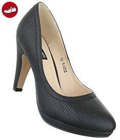 Damen Pumps Schuhe High Heels Stöckelschuhe Stiletto Plateau Schwarz 40 (*Partner-Link)
