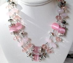 VINTAGE PRETTY PINK SILVER TONE BAUBLES LUCITE CROWN TRIFARI DOUBLE ROW NECKLACE