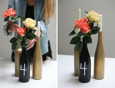 centre de table mariage champetre chic en bouteille repeintes en or et noir avec des bougies et roses