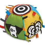 Play and Learn Ball invites play with bright panels, high-contrast images, ribbons and a chime ball.  Provides visual, tactile, and auditory stimulation. For ages six months and up.