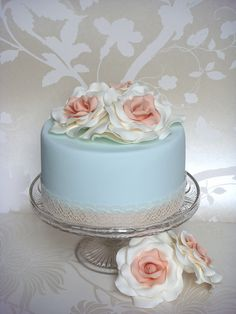 Vintage Pale Blue & Cream Wedding Cake by smithy.claire, via Flickr
