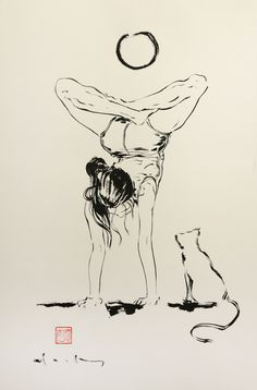 Thank you @BostonComicon. It was a wonderful event. Thanks to all the readers that came to my table. And to our panel. This brush ink drawing was done for a Yoga studio. I did it for her at Boston Comicon today. She asked for a woman doing yoga and a cat. https://www.facebook.com/pages/David-Mack/21231086294