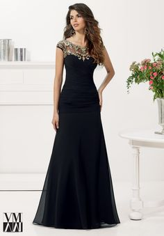 Evening Gowns and Mother of the Bride Dresses by VM Collection Chiffon with Vintage Lace Appliques Matching Stole. Available in Black/Vintage Gold, Champagne/Vintage Gold.