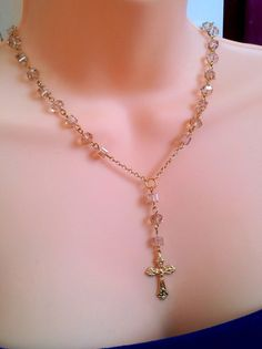 Smoke Crystal Gold Cross Rosary Necklace  by divinitycollection, $49.00