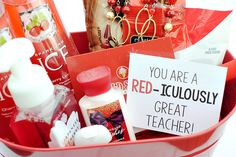 Teacher Appreciation Gift Idea Crazy Little Projects Diy Birthday, Friend Birthday, Birthday Gifts, Birthday Basket, Teacher Gift Baskets, Themed Gift Baskets, Theme Baskets, Raffle Baskets, Teacher Appreciation Gifts