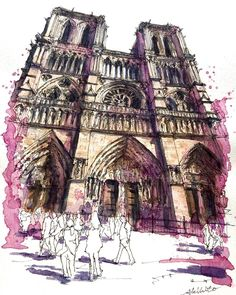 3,824 отметок «Нравится», 98 комментариев — watercolor@horiaki2 (@horiaki2) в Instagram: «パリ・ノートルダム大聖堂 -- Notre Dame Cathedral , Paris #水彩画 #透明水彩 #スケッチ #watercolor #watercolour…»