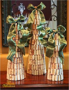 DIY Wine Cork Christmas Tree Topped With Ribbon | The Bubbly Hostess