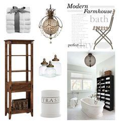 Modern Farmhouse Bath by barngirl on Polyvore featuring interior, interiors, interior design, home, home decor, interior decorating, DutchCrafters, Ethimo, Bellini and Pottery Barn