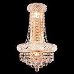 "Elegant Lighting 1800W12SG/SA Primo Collection Wall Sconce w/ Neck W12"" x H18"" x E7"" Gold Finish (Swarovski Spectra Crystals)"