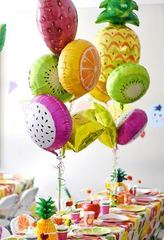 Fruit balloons from a Colorful Tutti Frutti Birthday Party on Kara's Party Ideas Flamingo Party, Fruit Party, Luau Party, Fruit Snacks, Beach Party, Fruit Birthday, 1st Birthday Parties, Happy Birthday, Tutti Fruity Party