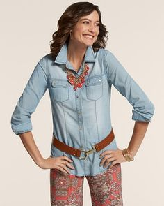Chico's Gold Accents Denim Treasa Shirt #chicos shirt 1 pants 00 they are pull ons so I went down a size