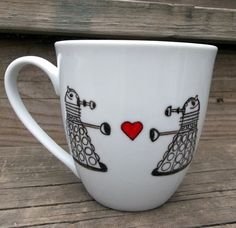 SALE Dr. Who Dalek in Love Coffee Mug Exterminate The Hate Tea Cup MMMug. $13.00, via Etsy.