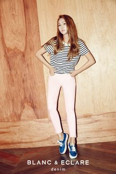Former Girls Generation member Jessica Jung can be seen modeling denim from her fashion line BLANC & ECLARE Denim. Jessica Sooyoun Jung, known professionally as Jessica, is an American singer, actress, and businesswoman currently based in South Korea. Kpop Fashion, Daily Fashion, Fashion Brand, Korean Fashion, Girl Fashion, Fashion Outfits, Airport Fashion, Fashion 2015, Blanc And Eclare