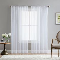 11 Best White Sheer Curtains - CountryCurtains White Sheer Curtains, Tulle Curtains, Grommet Curtains, Window Curtains, Curtains Over Blinds, Sheer Curtains Bedroom, Curtains Walmart, Gray Curtains, Printed Curtains