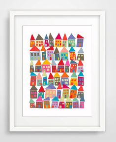 PAPER PIECING HOUSES - The Neighborhood in Color - This lovely art print celebrates community and features classic Scandinavian, Mid Century Modern (MCM) colors in my own design. It will brighten up any room. Outside dimens Art Auction Projects, Class Art Projects, Collaborative Art Projects, Classroom Art Projects, Art Classroom, Auction Ideas, Welding Projects, Diy Projects, Arte Elemental